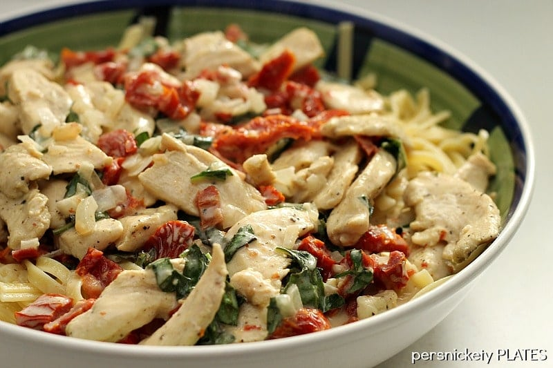 Homemade Sun Dried Tomato and Basil Chicken Fettuccine is a one pot meal and is a perfect comfort food dish.