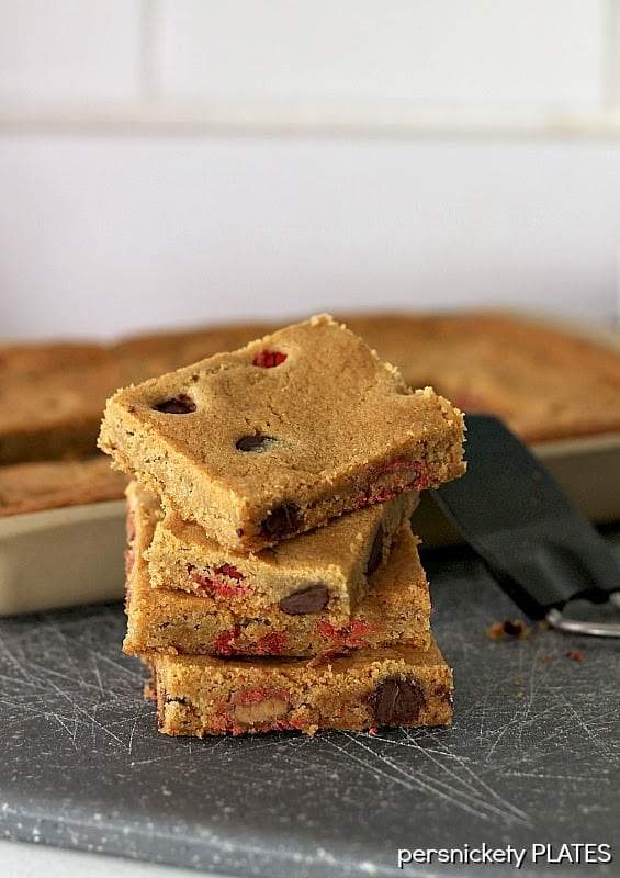 Coconut Oil Cookie Bars with Dark Chocolate Chips & Peanut Butter M&Ms