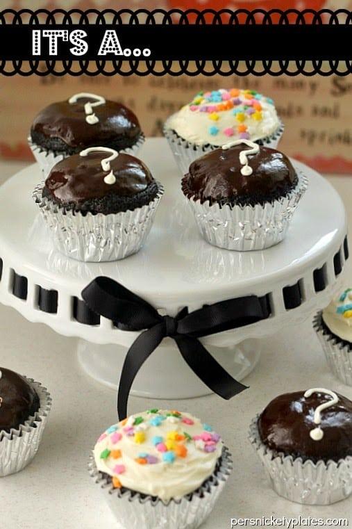 It's a… {Dark Chocolate Gender Reveal Cupcakes}