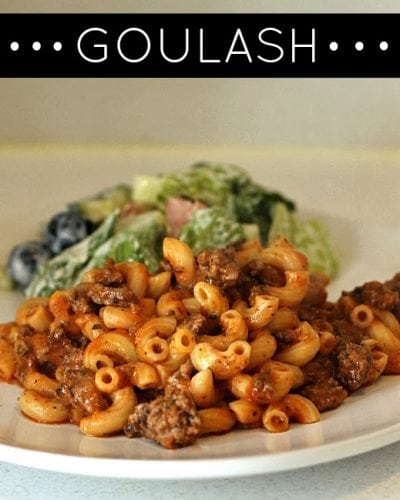 Goulash - cavatappi pasta filled with pasta sauce, ground beef, and cheese in this comforting & quick dish | Persnickety Plates