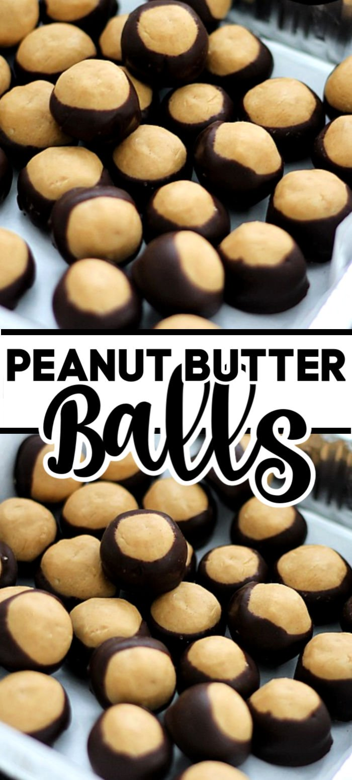 Peanut Butter Balls are a super simple, no-bake, treat that are great any time of the year. Sometimes called buckeye balls, these sweet and salty peanut butter balls are dipped into dark chocolate and are irresistible! | www.persnicketyplates.com #christmas #christmastreats #christmasdesserts #nobake #peanutbutter #chocolate #easyrecipe #dessert