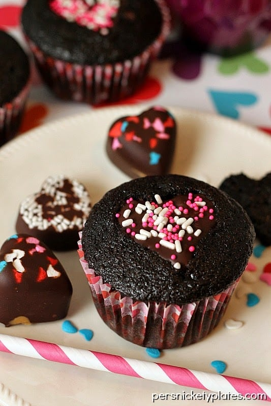 Ghirardelli Heart Cut Out Dark Chocolate Cupcakes | Persnickety Plates