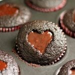 Ghirardelli Dark Chocolate Heart Cut-Out Valentine Cupcakes