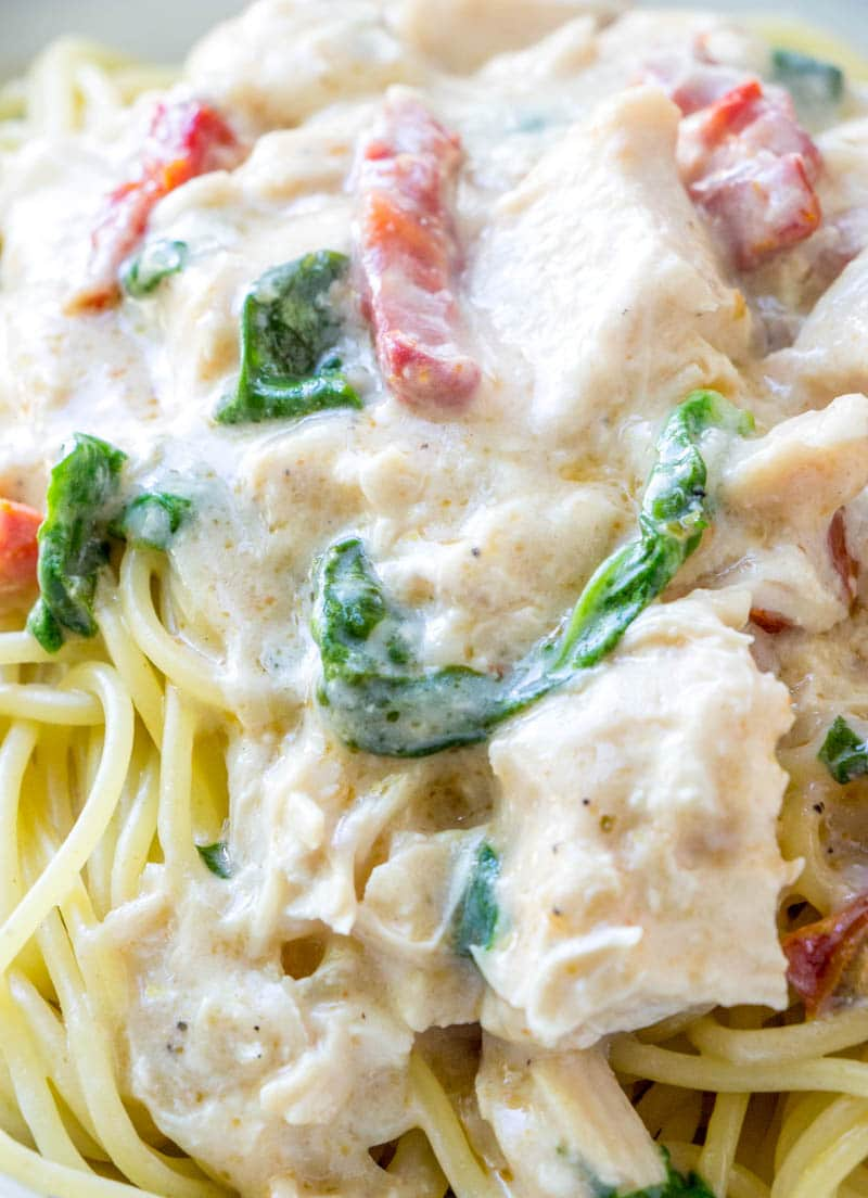 close up of chicken alfredo on a bed of spaghetti with spinach and sun dried tomatoes