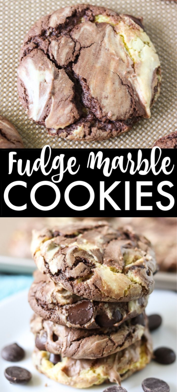 Fudge Marble Cake Mix Cookies are a simple easy cookie, made with just 5 ingredients. These delicious fudge cookies, made with a cake mix are a perfect after school snack or a quick dessert. | www.persnicketyplates.com #cookies #dessert #easyrecipe #cakemixcookies #semihomemadedessert