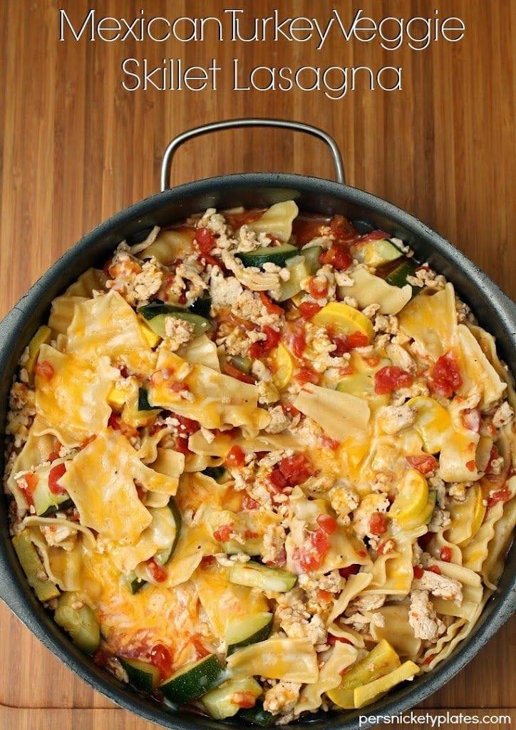 Mexican Turkey Veggie Skillet Lasagna