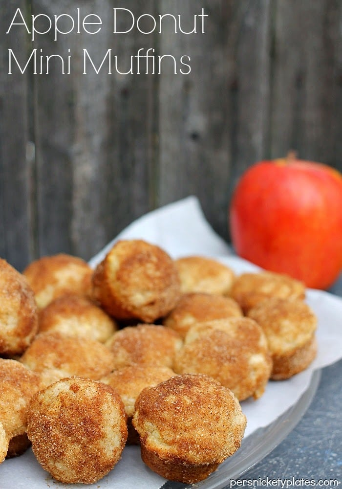 Apple Donut Mini Muffins - Bite sized mini muffins that taste just like cider mill cinnamon-sugar donuts!| Persnickety Plates