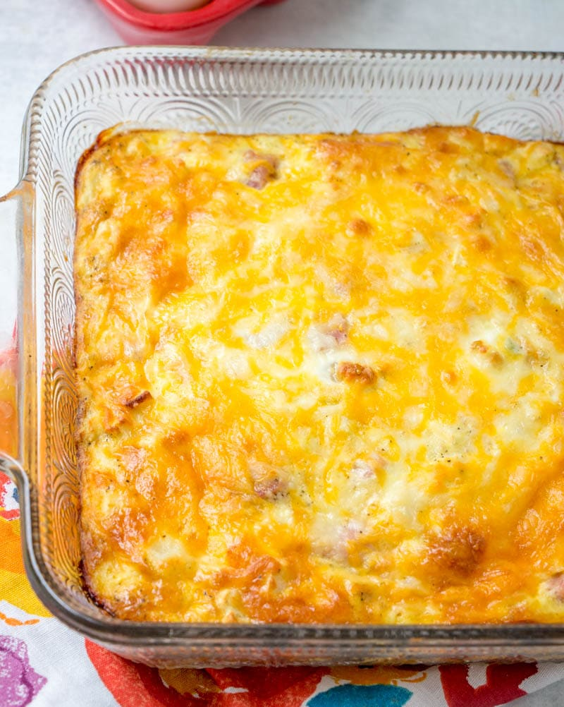 ham & potato breakfast casserole in 8x8 baking dish
