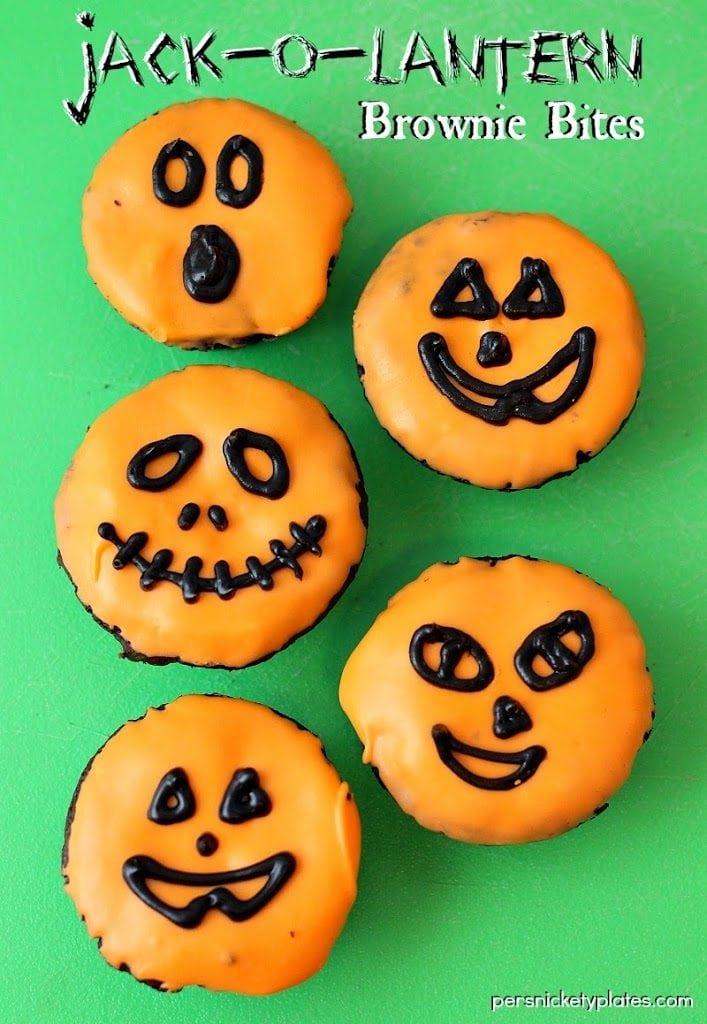 Jack-O-Lantern Pumpkin Brownie Bites
