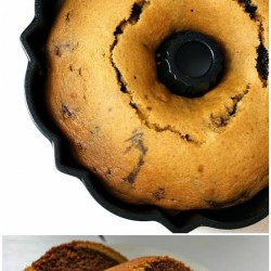 Pumpkin Chocolate Marble Bundt Cake is the perfect blend of pumpkin and chocolate swirled into a bundt cake. | www.persnicketyplates.com