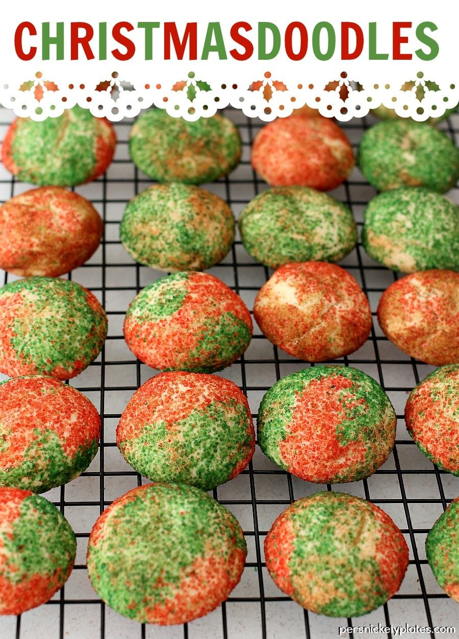 red and green snickerdoodles on wire cooling rack