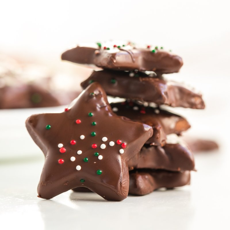 stack of chocolate covered shortbread cookies