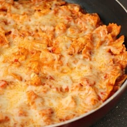 One Pot Cheesy Chicken Pasta Skillet   Persnickety Plates