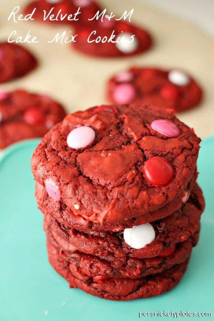 Red Velvet M&M Cake Mix Cookies