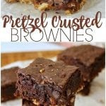 Pretzel Crusted Brownies - a layer of pretzel crust topped with a fudgy chocolate chip brownie. Sweet and salty in every perfect bite! | www.persnicketyplates.com