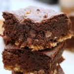 closeup of pretzel crusted brownie stack