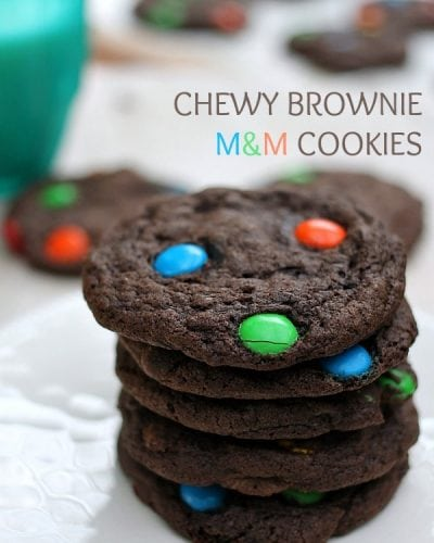 Chewy Brownie M&M Cookies | Persnickety Plates