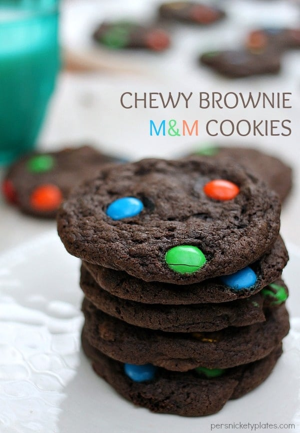 Chewy Brownie M&M Cookies