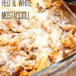 Baked Red and White Mostaccioli - only 4 ingredients in this super simple dinner! | Persnickety Plates #sp #