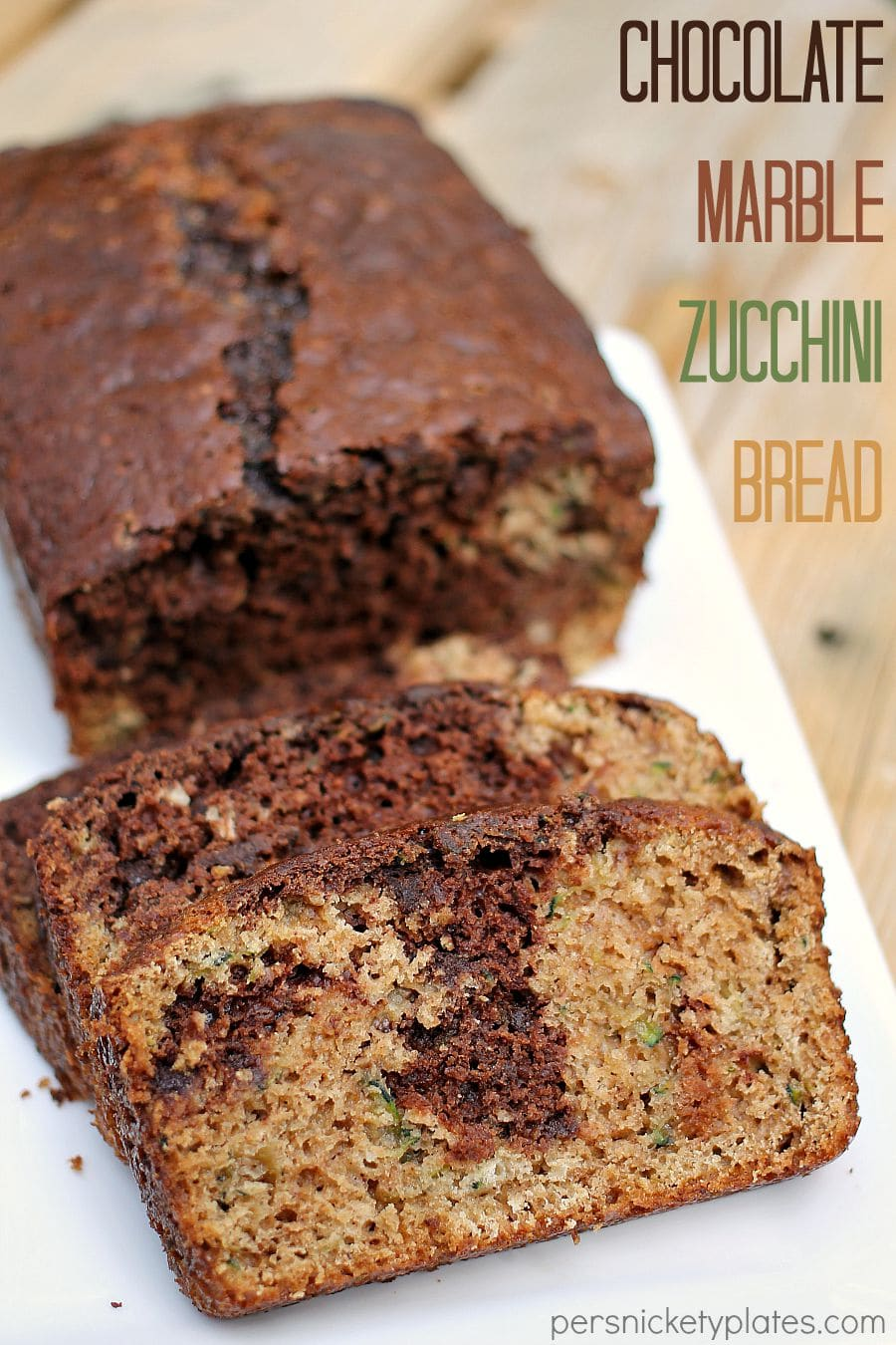 Chocolate Marble Zucchini Bread - give classic zucchini bread an upgrade when you swirl in chocolate batter and mini chocolate chips! | www.persnicketyplates.com