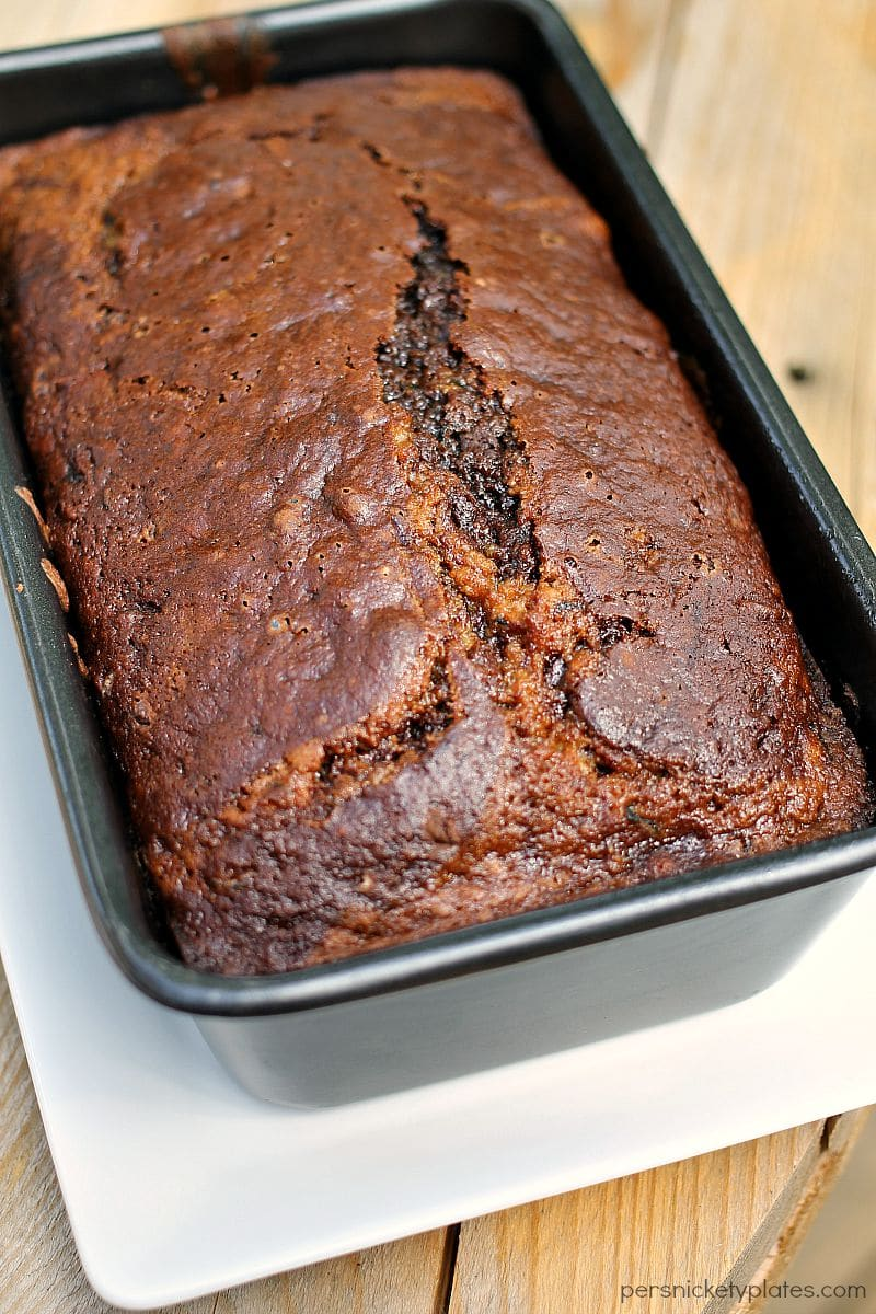 chocolate marble zucchini bread in a loaf pan