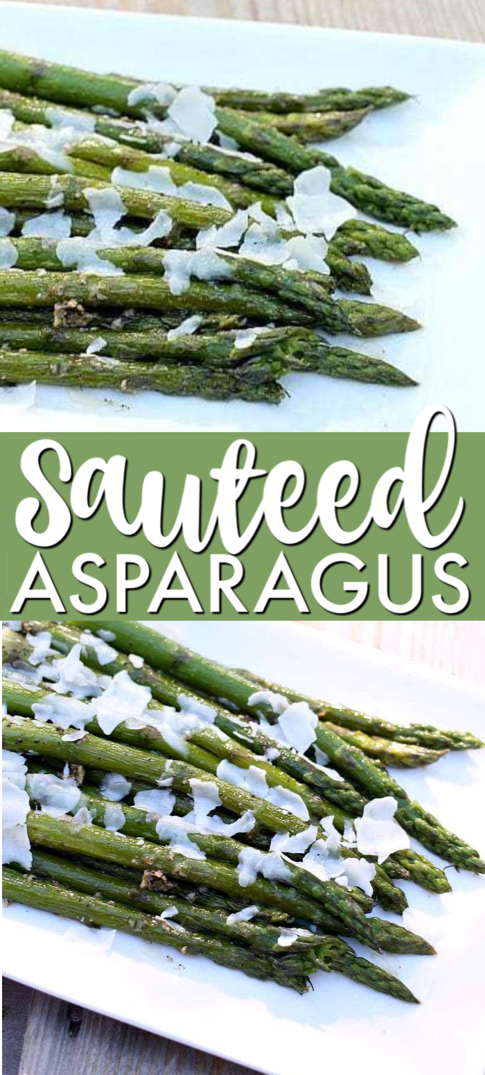 Sauteed Asparagus is a deliciously easy side dish that goes from stove to table in less than 15 minutes. Made with 6 ingredients, this is the best sauteed asparagus recipe that is packed full of flavor and perfect for any dinner plate. | www.persnicketyplates.com #asparagus #sidedish #healthyrecipe #easyrecipe #vegetarian