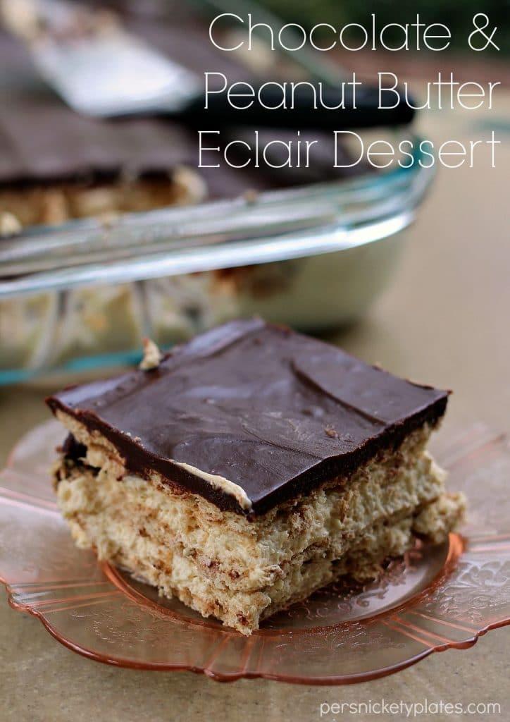 Chocolate and Peanut Butter Eclair Dessert