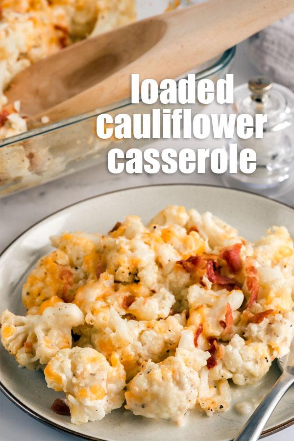 cauliflower casserole on a white plate