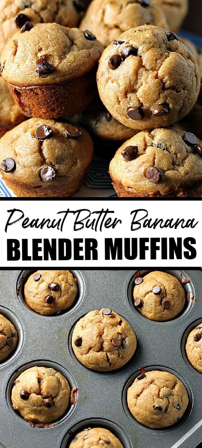 Peanut Butter Banana Chocolate Chip Blender Muffins