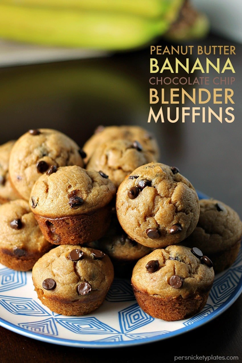 Peanut Butter Banana Chocolate Chip Blender Muffins » Persnickety ...