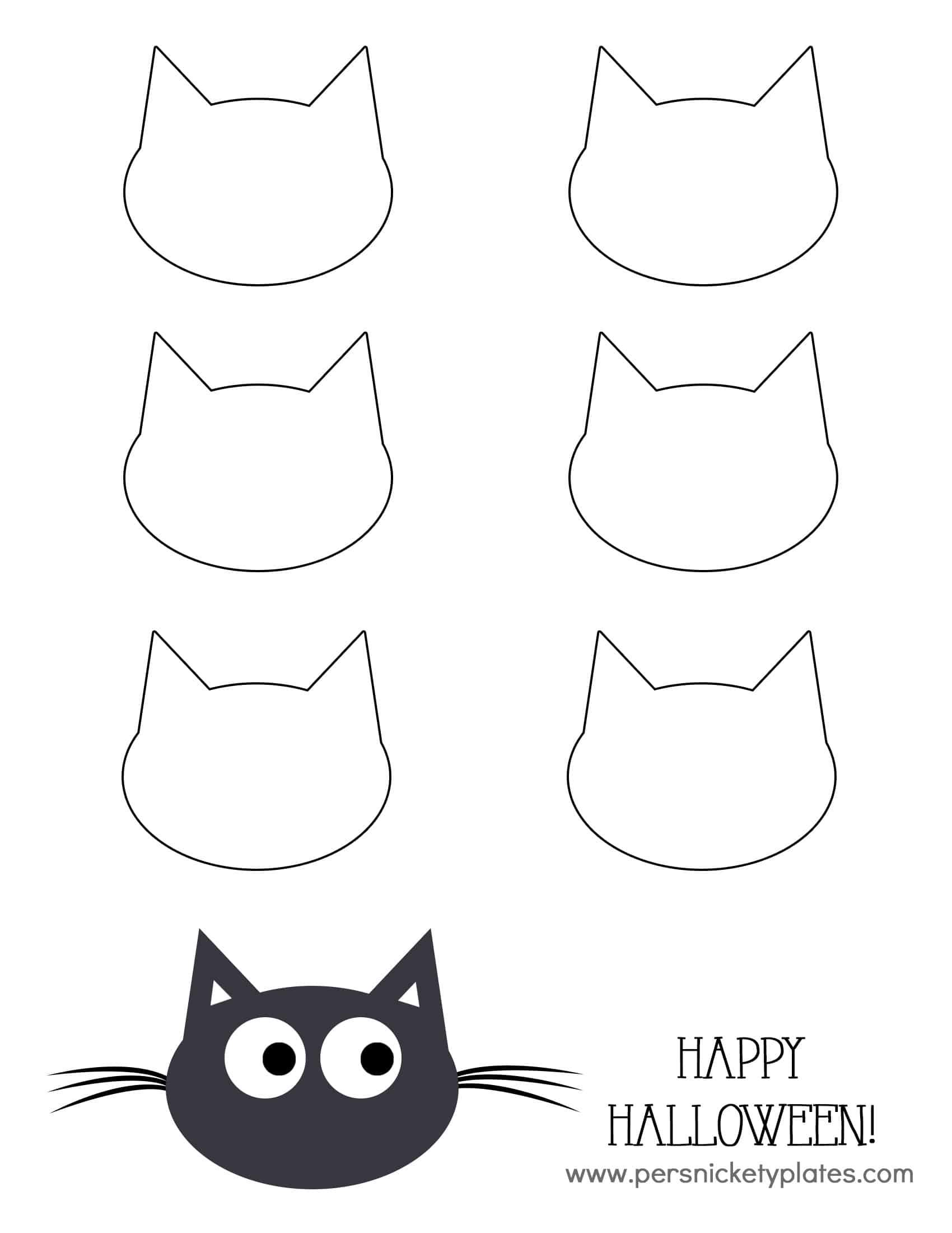Cat Head Template Black cat pudding cups » persnickety plates