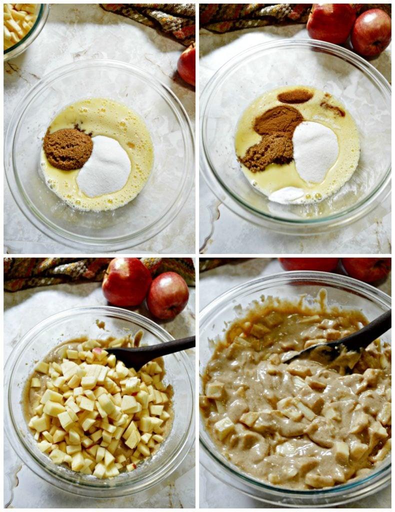 collage of mixing bowl making apple bundt cake