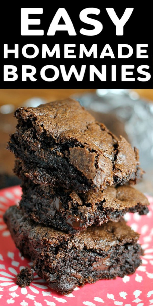 This super simple dark chocolate brownie recipe is rich and chocolatey with a perfect flaky crust and they whip up in no time. Made from scratch with cocoa, this quick recipe will become a favorite! | www.persnicketyplates.com