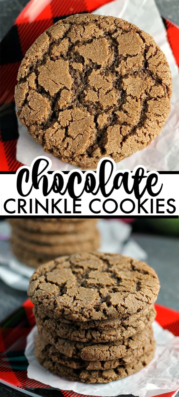 Crisp Chocolate Crinkle Cookies - a beautiful but simple chocolate cookie with crisp edges and a chewy center. This chocolate crinkle cookie recipe will quickly become a staple in your cookie jar and for the holidays. | www.persnicketyplates.com #cookies #christmascookies #chocolate #chocolatecookies #bakefromscratch #easyrecipe