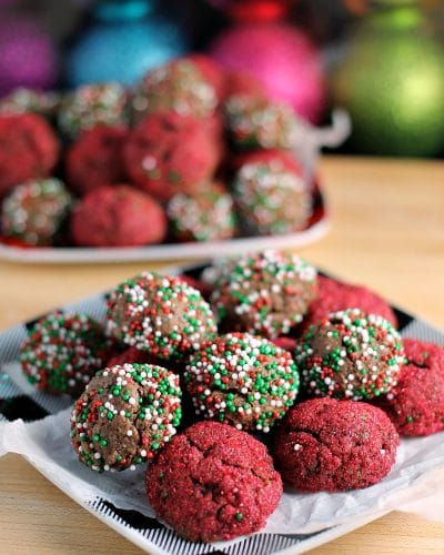 Sprinkled Chocolate Fudge Cookie Bites - perfect for a cookie swap or on any holiday table! | Persnickety Plates