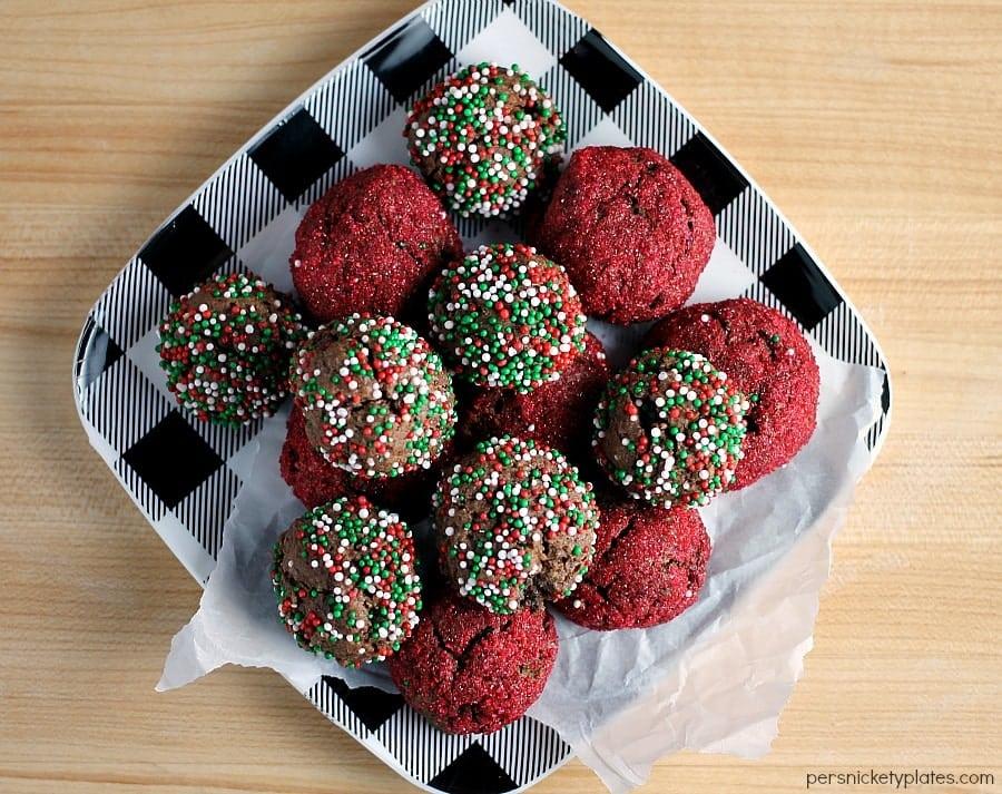 overhead shot of fudge cookie bites with christmas sprinkles