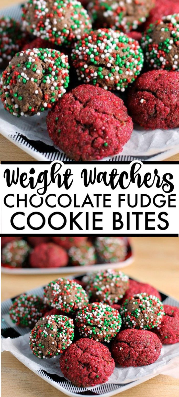 These Sprinkled Chocolate Fudge Cookie Bites are perfect for a cookie swap or to put out on a holiday table. You'd never guess they're Weight Watchers cookies! This lightened up fudge cookie recipe is a nice break from all the indulgences, while still being delicious.