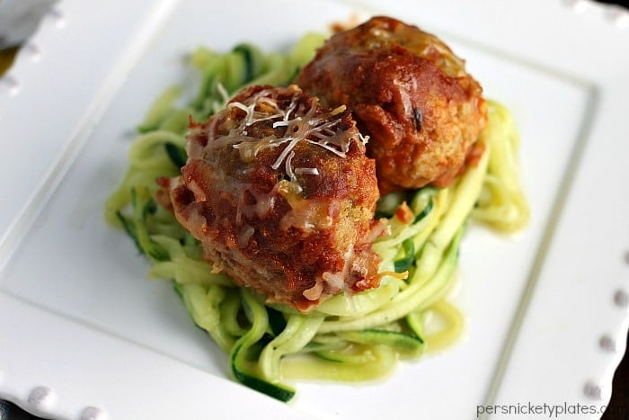 Slow Cooker Cheese Stuffed Turkey Meatballs with Zoodles