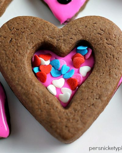 chocolate heart cookie topped with sprinkles