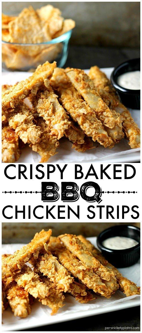 Three ingredient gluten free Crispy Baked BBQ Chicken Strips made withVan's Simply Delicious® Multi-Grain BBQ Chips can be whipped up in about 30 minutes so they're perfect for a weekday dinner! | Persnickety Plates