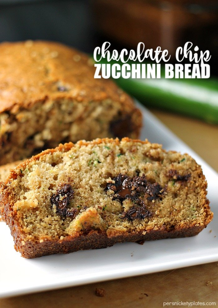 sliced chocolate chip zucchini bread on white plate