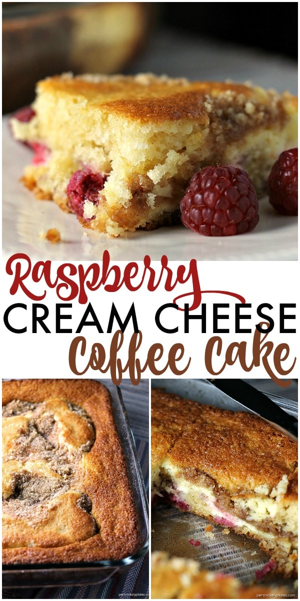 A layer of cake, a layer of raspberries and cream cheese, and a crumb topping come together perfectly in this Raspberry Cream Cheese Coffee Cake. Perfect for Mother's Day! | Persnickety Plates ad #HallmarkJewelry