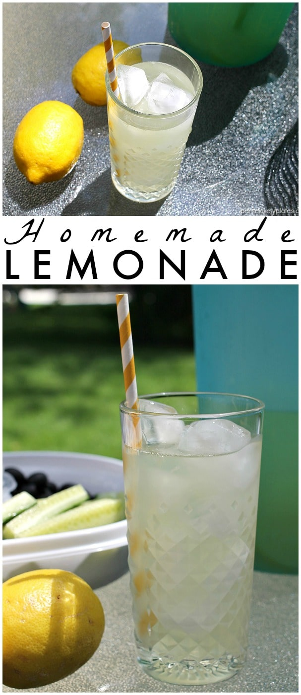 Homemade Lemonade with just the right amount of sweetness is the perfect, easy four-ingredient drink for your next gathering. | Persnickety Plates #ColorYourSummer