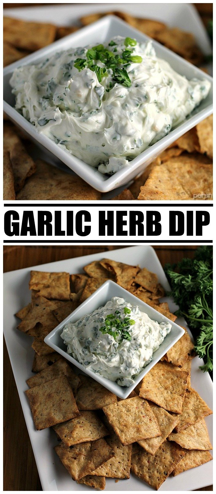 Garlic Herb Dip starts with a cream cheese base then is filled with fresh herbs. Pair this super easy dip recipe with crackers, chips, or veggies to make the perfect quick snack for your next party or game day. | www.persnicketyplates.com #dip #appetizer #easyrecipe #partyfood #garlic