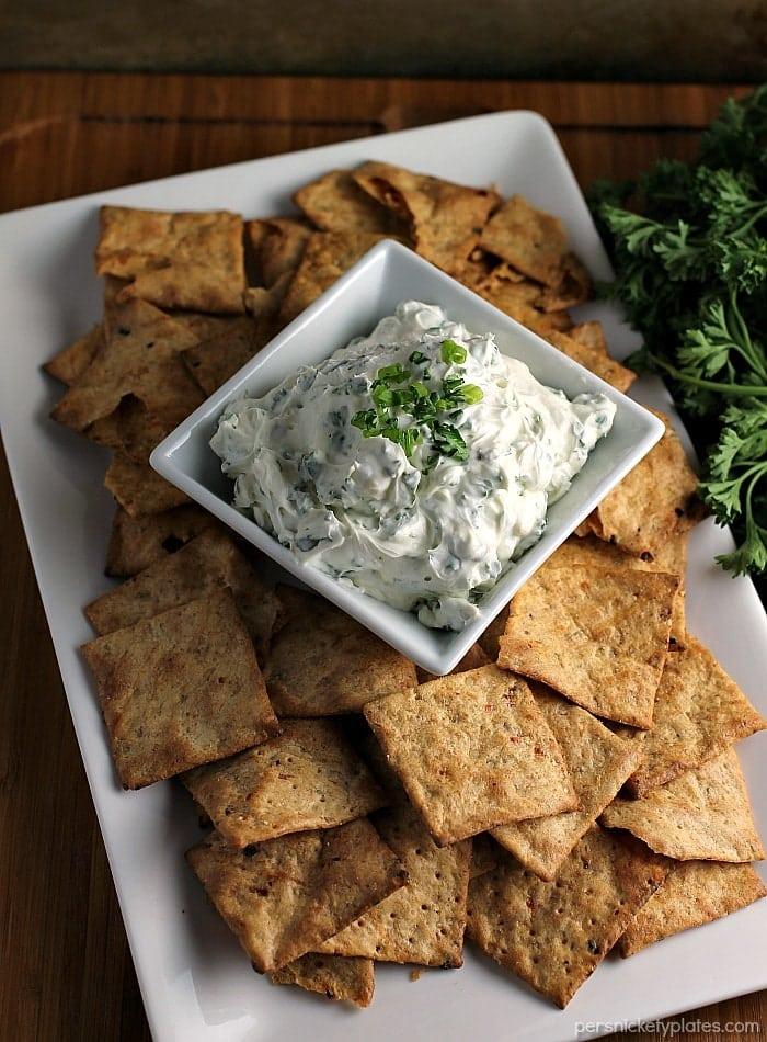 chips & dip on a white platter