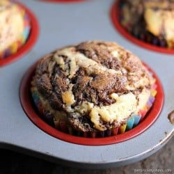 Nutella Swirl Muffins are a simple, moist muffin with a sour cream base, swirled with Nutella. | Persnickety Plates ad