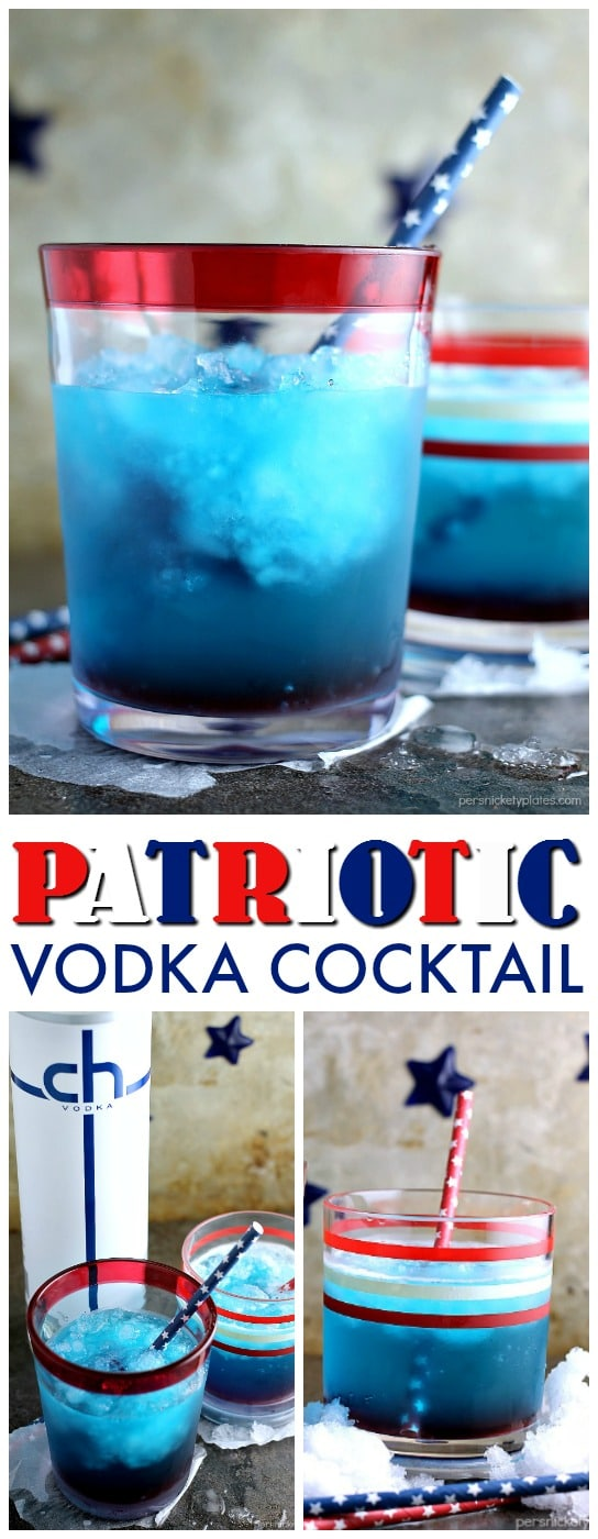 This red, white, and blue Patriotic Vodka Cocktail made with CH Vodka is a festive way to celebrate the Fourth of July or any day you're feeling especially patriotic. | Persnickety Plates ad