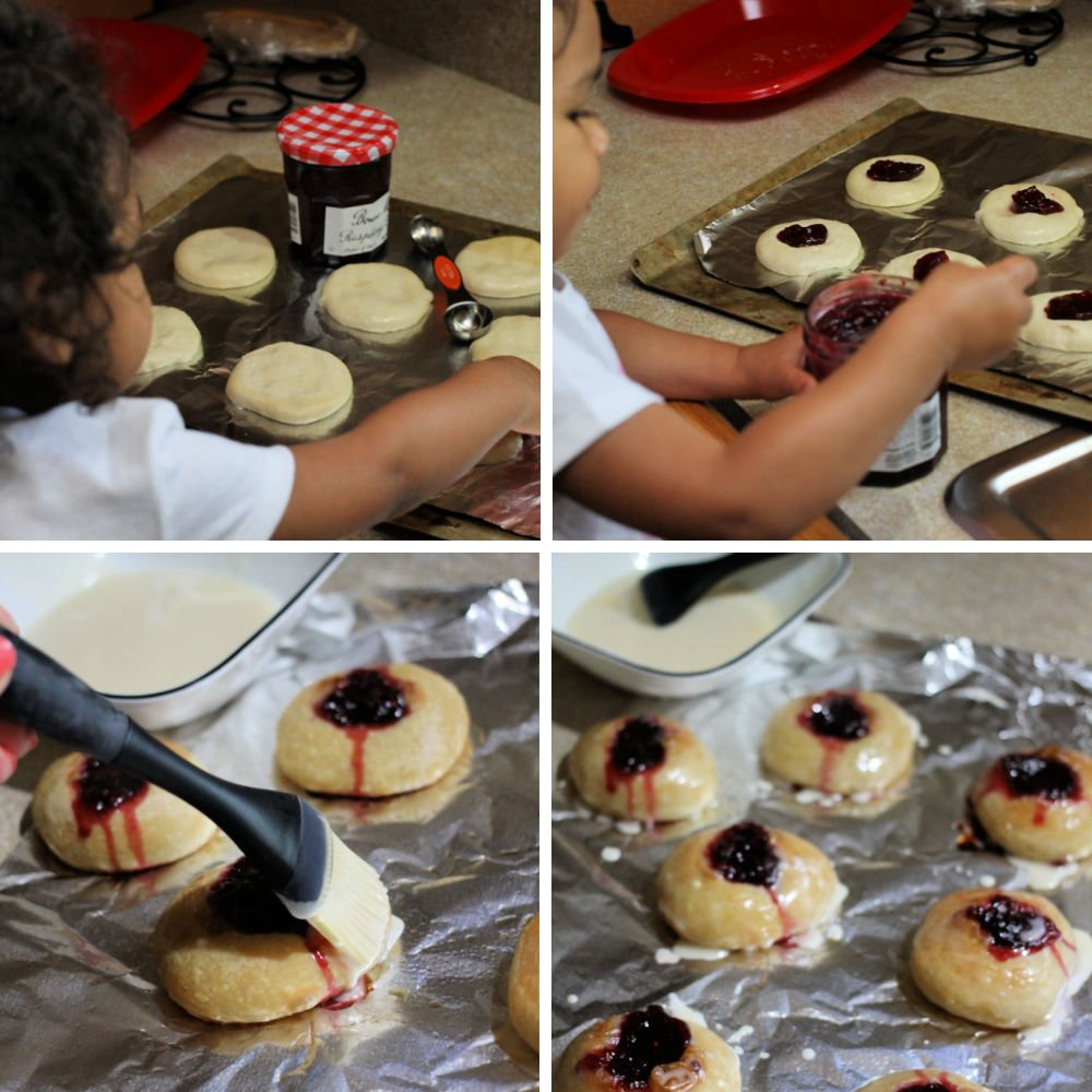 collage of little girl making raspberry thumbprint donuts
