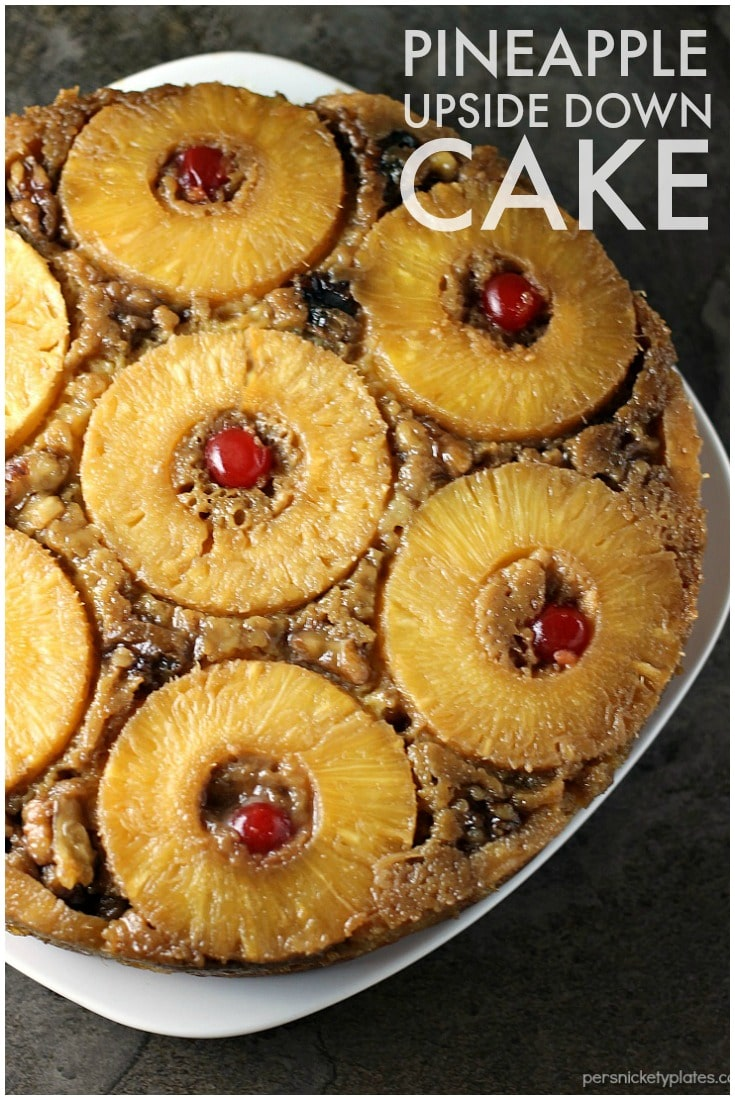 Pineapple Upside Down Cake is a classic dessert that's pretty, delicious, and easy when you use a cake mix! | Persnickety Plates