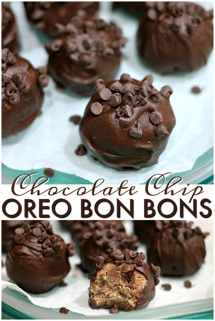 Only four ingredients in these simple Chocolate Chip Oreo Bon Bons. They are a sweet little no-bake treat using Choco Chip Oreos. | Persnickety Plates